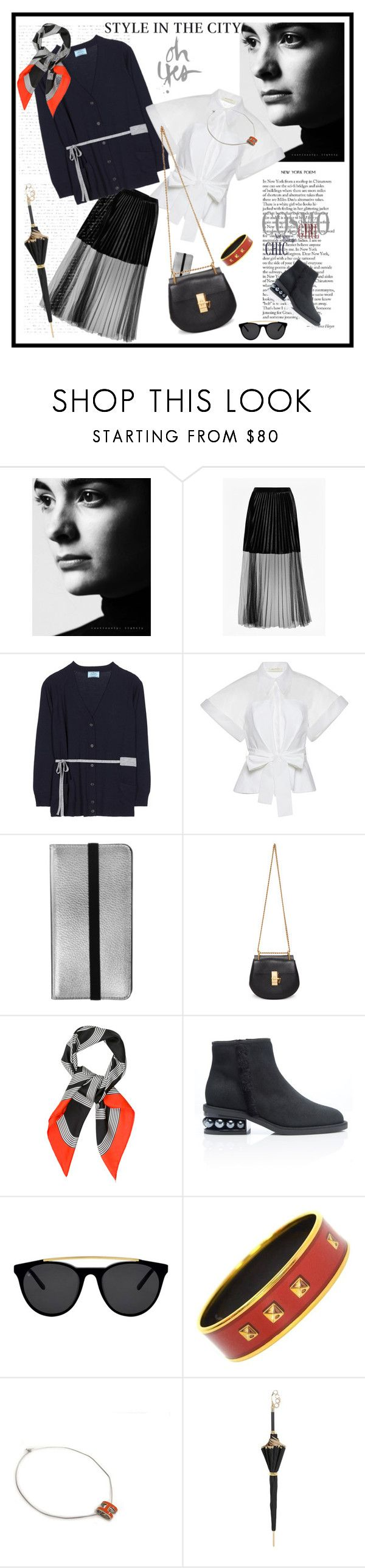 """Style in the City♥♥♥"" by marthalux ❤ liked on Polyvore featuring French Connection, Prada, Delpozo, MobileLuxe, Chloé, Hermès, Nicholas Kirkwood, Smoke x Mirrors and Pasotti Ombrelli"