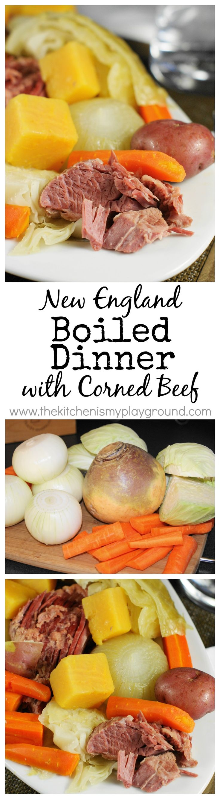 New England Boiled Dinner ~ A traditional hearty one-pot classic of braised corned beef, cabbage, & root vegetables.  Such delicious comfort food!  www.thekitchenismyplayground.com: