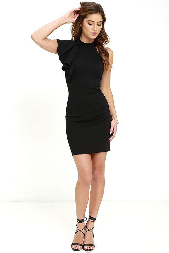 In need of a little black dress? Look no further than the Au Revoir Black Bodycon dress! Halter neckline with a fun one-shoulder ruffle tops this stretch knit LBD. A princess-seamed bodice flows down to a figure-skimming skirt. Hidden back zipper.