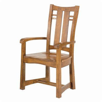 GS Furniture AC113W02A4SN Bungalow Arm Set Two Dining Chair (2 Pack)