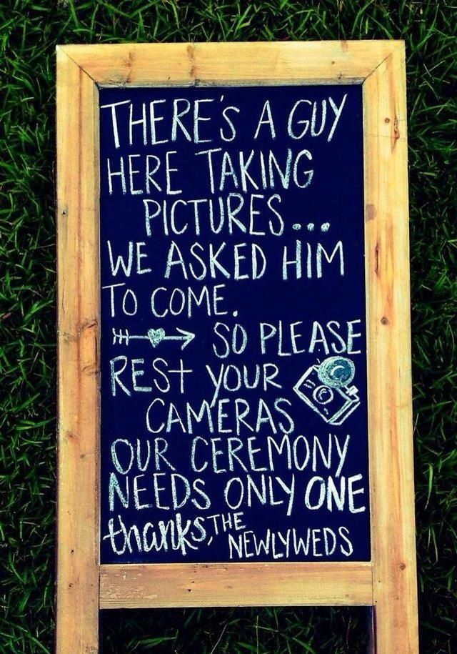This isn't a bad idea for the ceremony. Guest should live in the moment !!! Let the photographer take ceremony photos!