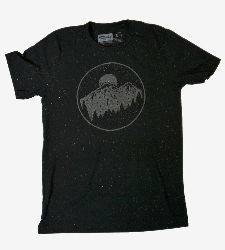 Night Sky & Mountains T-Shirt | Printed on speckled black cotton, this outdoorsy t-shirt featu... | T-Shirts