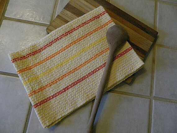 Handwoven Kitchen Towel Natural Red Yellow by FrederickAvenue