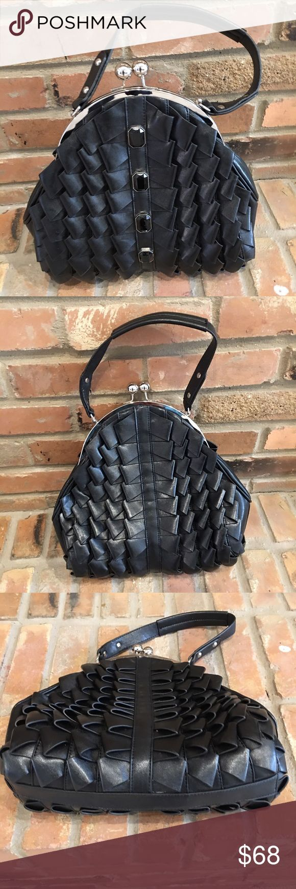 Nicole Lee black faux leather ruffle bag Like new. Carried once. Like it now. Description coming. Nicole Lee Bags