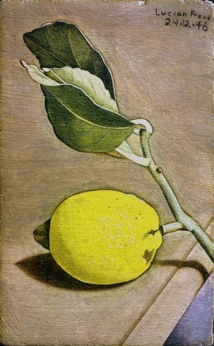 Lucian Freud (British, 1922-2011), Still Life with Lemon, 1946. Oil on panel, 6 x 3 ¾ inches; 17 x 9.5 cm.