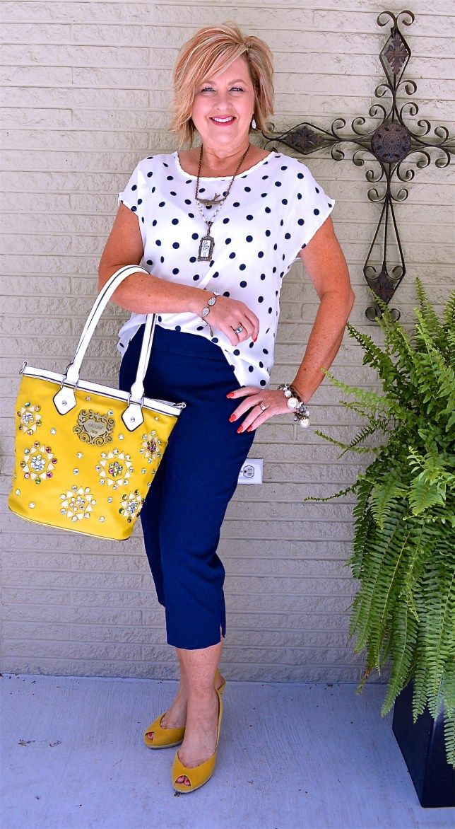 50 IS NOT OLD | NIGHT OUT OUTFIT | Polka Dots | Navy & Yellow | Fashion over 40 for the everyday woman.