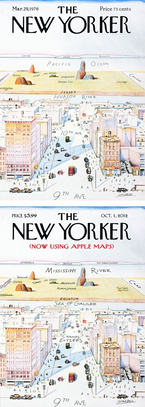 The New Yorker Saul Steinberg Apple Maps Spoof
