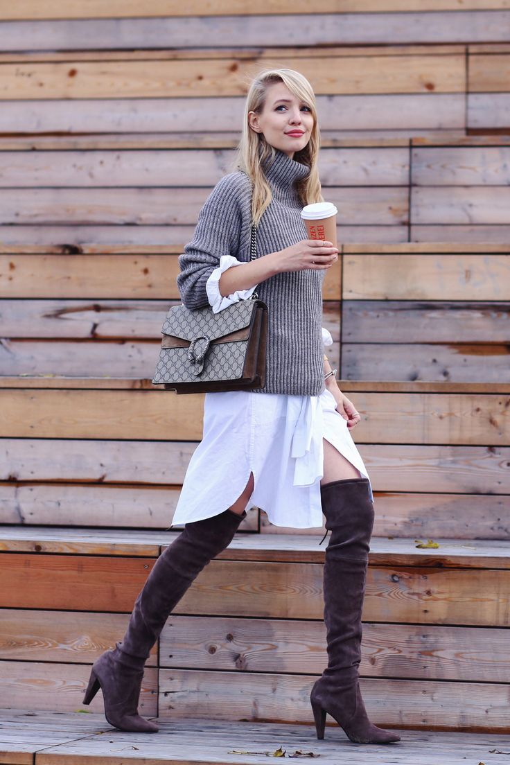 ohhcouture.com   Streetstyle - @gucci Dionysus bag, oversized chunky knit sweater, @stuartweitzman over the knee boots, layering, long blouse   #ohhcouture #LeonieHanne