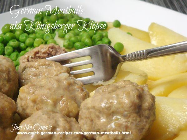 Yummy German meatballs, called Koenigsberger Kloepse - http://www.quick-german-recipes.com/german-meatballs.html