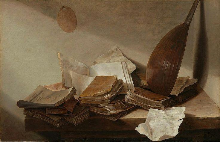 Stilleven: op een houten tafel in de hoek van een kamer liggen verschillende boeken en paperassen. In de hoek staat een luit tegen de muur geleund.  ; Jan Davidsz de Heem (1606–1683), olieverf op paneel, ca. 1625–1630  Datebetween 1625 and 1630DimensionspaneelHeight:26.5 cm (10.4 in) paneelWidth:41.5 cm (16.3 in)Current location  Rijksmuseum Amsterdam