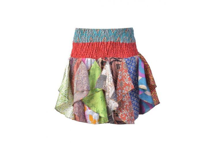 Multibarevná mini sukně z recyklovaných sárí s volány (top), bobbin