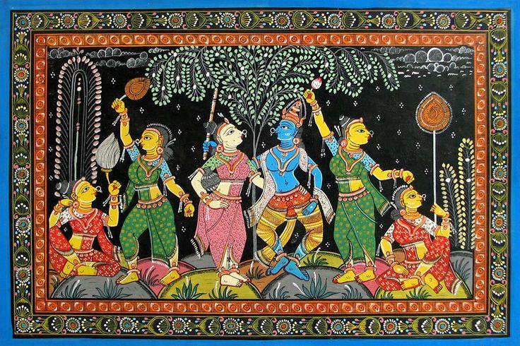 Krishna Leela - Orissa Paata Painting on Canvas