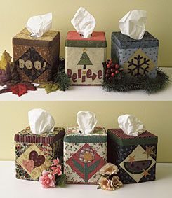 FREE Seasonal Tissue Box Covers Pattern These festive tissue box covers have an entire year's worth of decorations packed into one free pattern. The small pieces called for in some of the appliqué are perfect to use up your scraps and there are also great opportunities for adding embellishment.