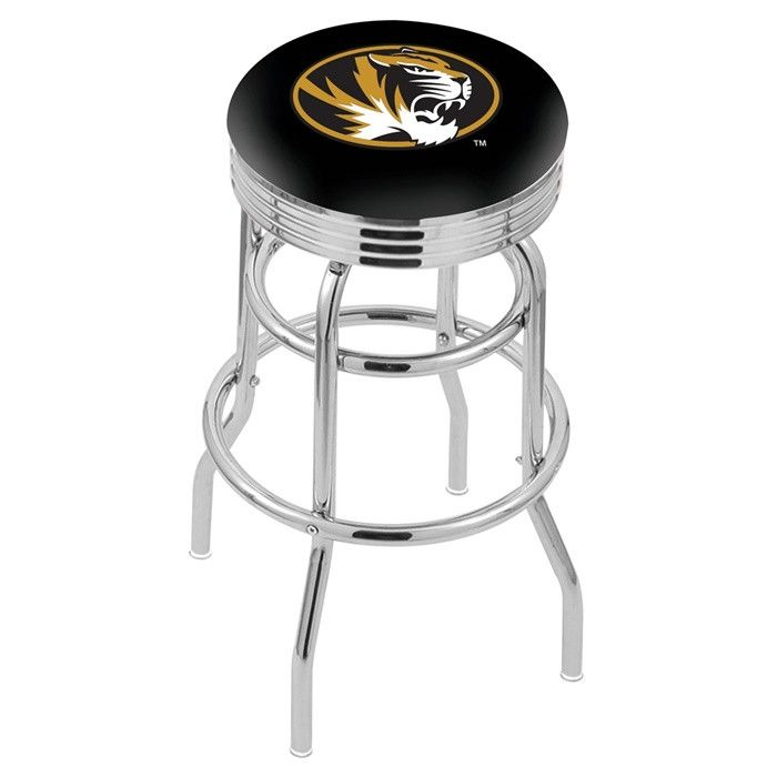 Missouri Tigers D1 Retro Chrome Ribbed Ring Bar Stool - SportsFansPlus