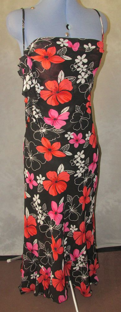 Essential Style,ladies,size18.black,floral,strapy neckline,full lth,Formal,Dress