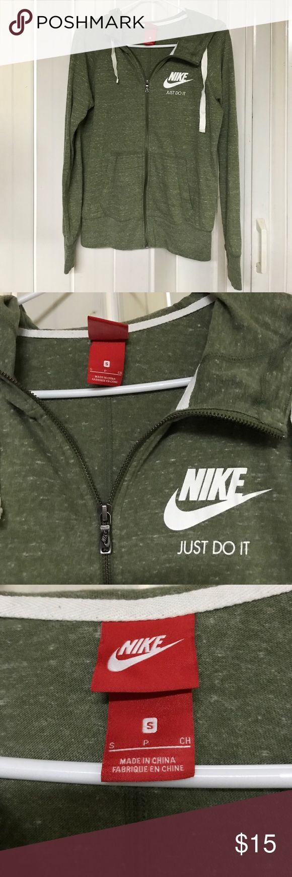 Nike zip up thin hoodie Marbled sage green Nike zip up t-shirt thin hoodie. Beige hoodie string and has a slight cowl at the neck. Perfect condition, worn once and washed once. Just a little short for my long arms! Nike Tops Sweatshirts & Hoodies