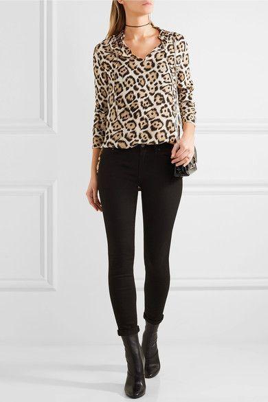 Seide mit Leopardenprint Ohne Verschluss 100 % Seide Trockenreinigung