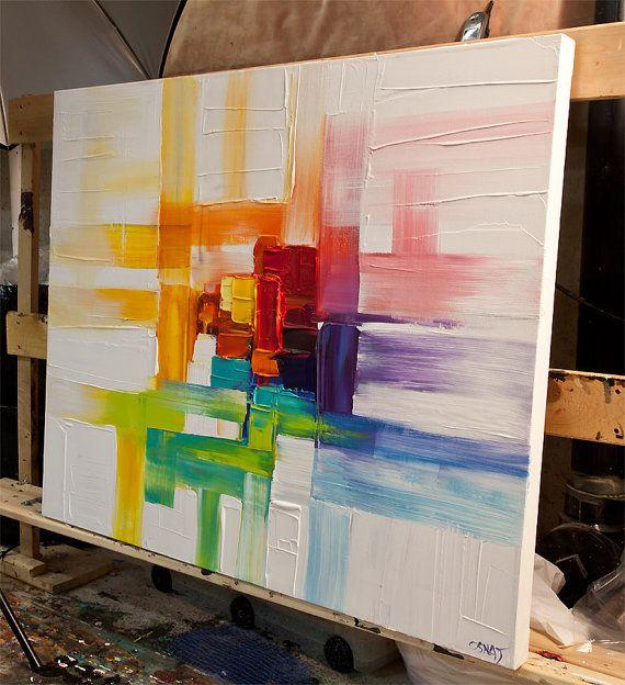 Original zeitgenössische moderne abstrakte Gemälde von Osnat Malerei der Name: Bunte Gedanken Größe: 36 x 30 x 1.5 tiefen Farben: bunt mit weißem Hintergrund Medium: Acryl auf Leinwand gewickelt, Spachtel Das Bild ist fertig zum Aufhängen (Hardware und hängende Anleitung werden mitgeliefert werden). Es wurde auf eine Leinwand gewickelt mit einem Spachtel gemalt. Die Leinwand hat Staples-freien Seiten. Du musst nicht umrahmen - einfach aufhängen. Letzte Schicht Lack wurde zum Schut...
