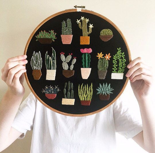 Just Enough Cacti / MADE TO ORDER / Hand Embroidery Hoop Art Decor Plants Cacti Cactus by Unpicking on Etsy https://www.etsy.com/uk/listing/483738438/just-enough-cacti-made-to-order-hand