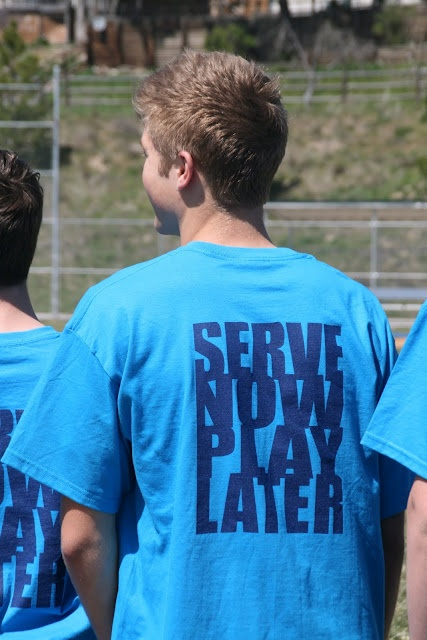 """Love this slogan, """"Serve Now Play Later"""" for a teen's service group.  2 boys and their moms each take a month and are in charge of planning a service project for the group.  Serving others is a great antidote to selfishness!"""