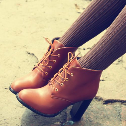 Womens Synthetic Leather High Heels Court Shoes Pumps Lace Up Retro Ankle Boot i…