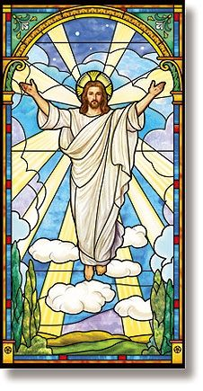 Stained Glass Risen Christ Banner