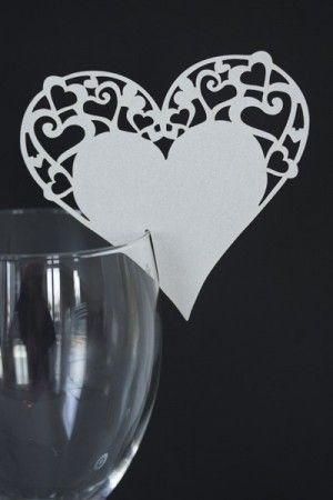 Bordkort Hjerte LC Hvit