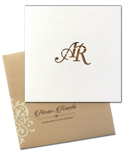 This #Glittering #invitation #card has #personalized #laser #cut #couple #initials on the front. Truly #innovative! #Fallinlove 😍😍