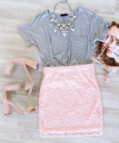 Atlanta Lace Skirt in Blush - Shop Priceless