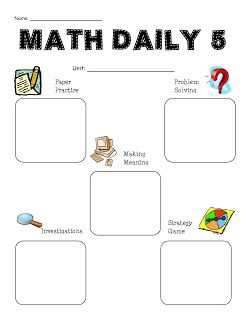 Room 210 Happenings: Math Daily 5 food for thought, could this work?