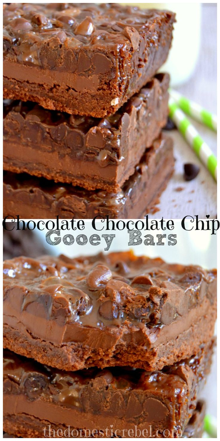 Chocolate Chocolate Chip Gooey Bars - for serious chocoholics only! #chocolate #gooey