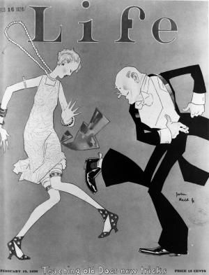 source: magazine cover(1926) This cover of Life magazine was showing a flapper dancing with an old man. A typical flapper was a young woman who rejected conventional dress and behaviour. They were rebellious but they started the time for women first being independent, making their own decisions and becoming her own. The appearance of flappers symbolized a revolution of women who were eager to start a new era and since then women began to act actively in all aspects of social life.