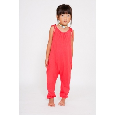 Organic cotton jersey jumpsuit in Cherry.