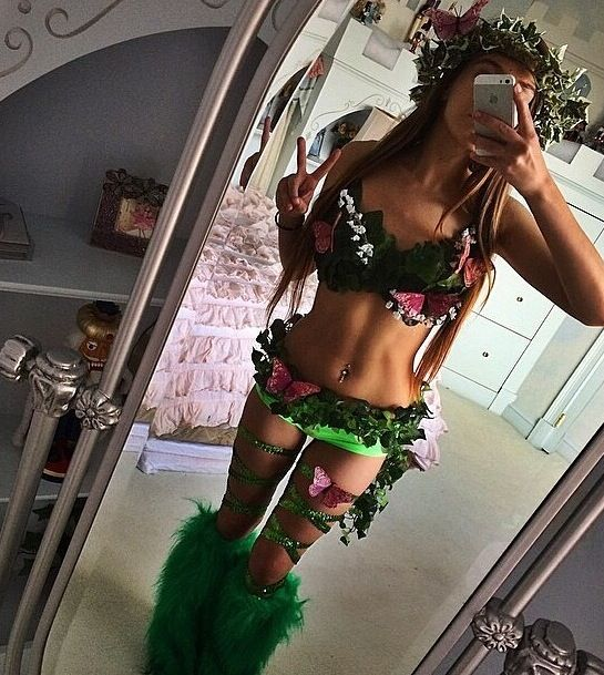 EDM girls outfit festival fashion poison ivy Adam and Eve flower crown leg wraps EDC rave iheartraves
