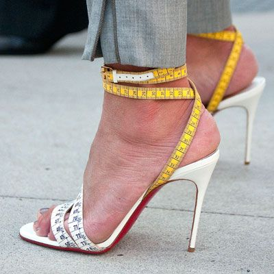Measuring Tape Shoes - Christian Louboutin...seriously, I cannot say if I like them but kind of oddly yes, weird!!