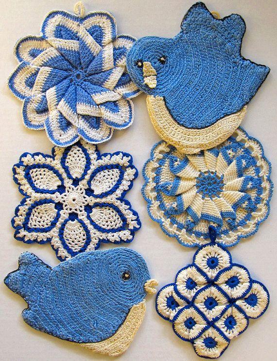 Vintage Blues Potholders Crochet Pattern PDF by Maggiescrochet