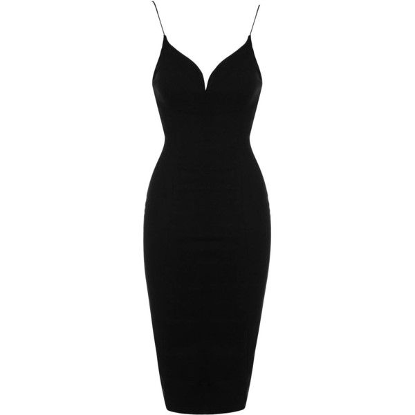 Lace and Mesh Back Midi Dress by Rare (£55) ❤ liked on Polyvore featuring dresses, vestidos, short dresses, black, robes, bodycon dress, bodycon mini dress, plunging neckline dress and body con dresses