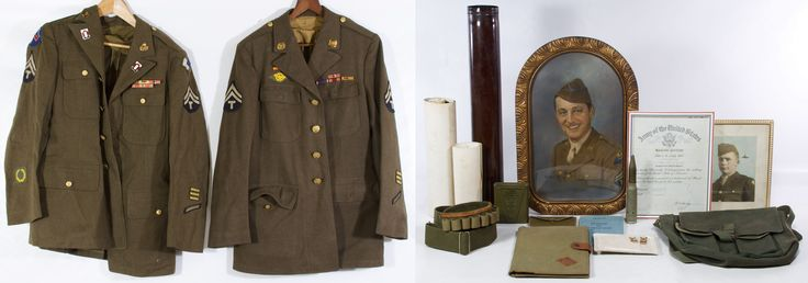 Lot 465: World War II US Army Jacket, Tunic and Hat Assortment; Including two jackets with 2nd grade Technician patches, a Pacific Ocean Area Theater patch, bar pins, enamel pins and two hats; together with World War II US army soldier ephemera, badges and equipment