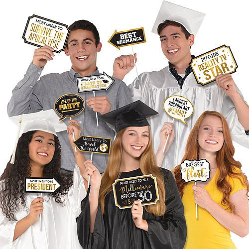 Black & Gold Graduation Photo Booth Props 13ct