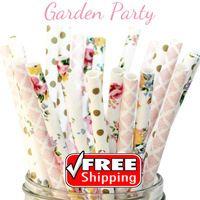 150 stücke Gemischt 3 Designs Garten Party Themed Papierstrohe-Gold, Rosa, Bunte-Blume, Dot , Damast, Blumen Tee Hochzeit Braut Dusche