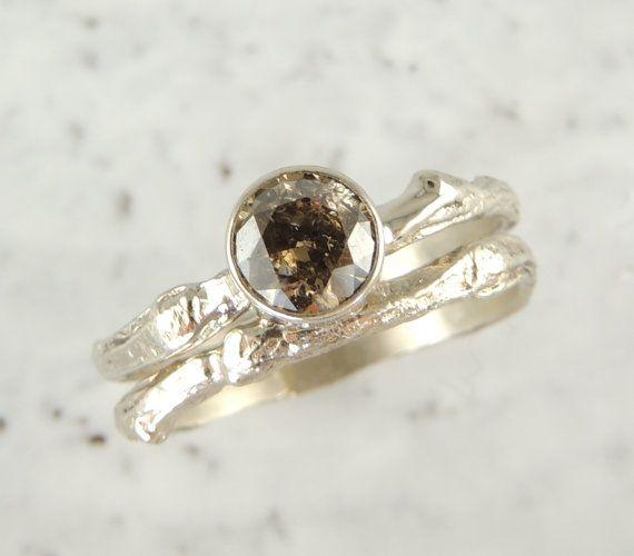 Chocolate Diamond Branch Engagement Ring 14k by PointNoPointStudio, $1550.00