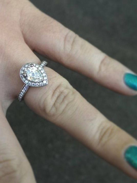real ritani engagement rings kassie wears a pear shaped halo diamond engagement ring with - Pear Shaped Wedding Ring Sets