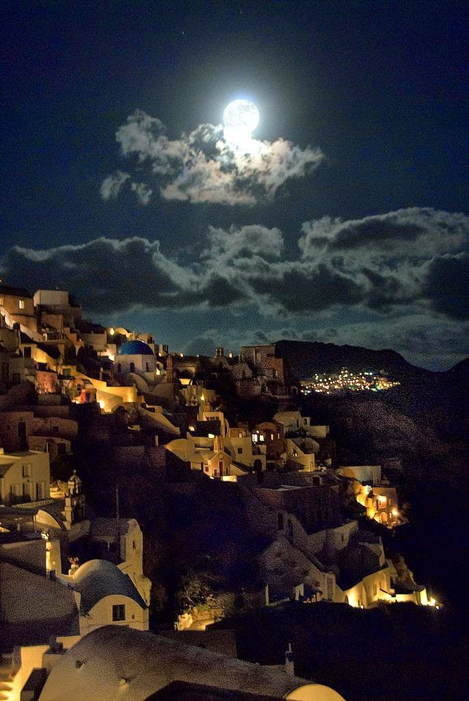Moonlight Santorini, Greece
