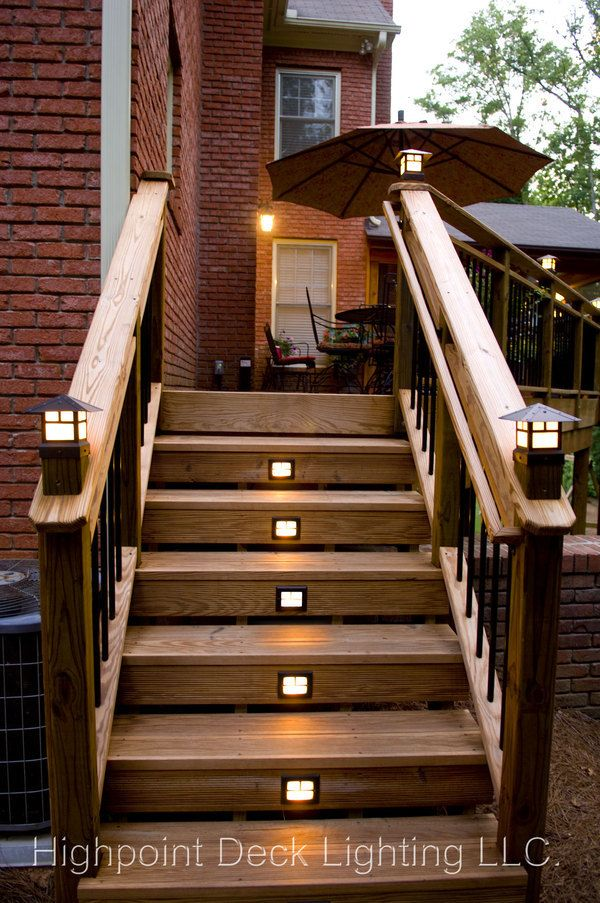 Images of craftsman light posts highpoint deck for Landscape deck lighting