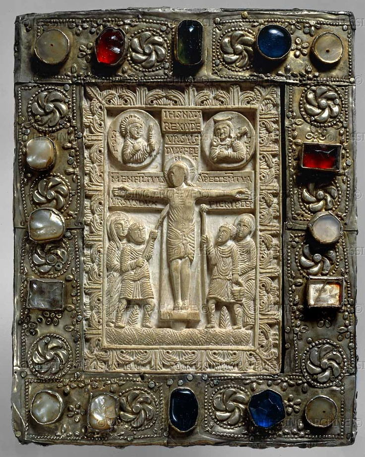 Book cover in silver gilt and precious stones with ivory insert of the crucifixion; lombardic; 8th century CE.  				National Archeological Museum, Cividale del Friuli, Italy