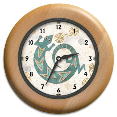 Turquoise Lizard Round Wood Wall Clock - From our Southwestern Clocks category, this clock has a traditional Native American gecko symbol.  $63.00