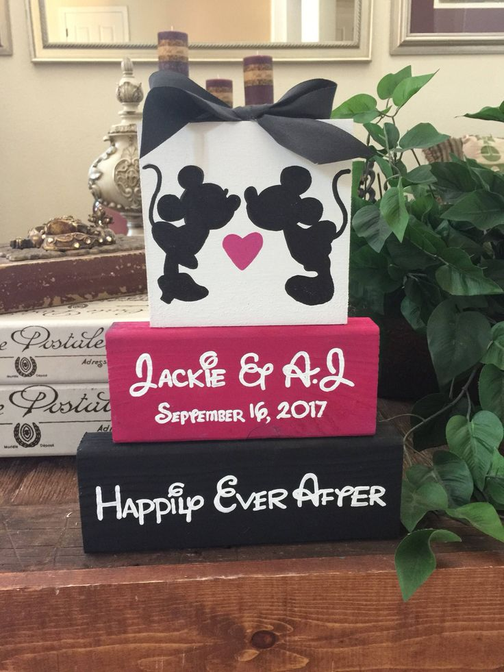 couples bridal shower games free%0A Disney  Personalized Mickey  u     Minnie mouse  Disney themed wood block set   wedding