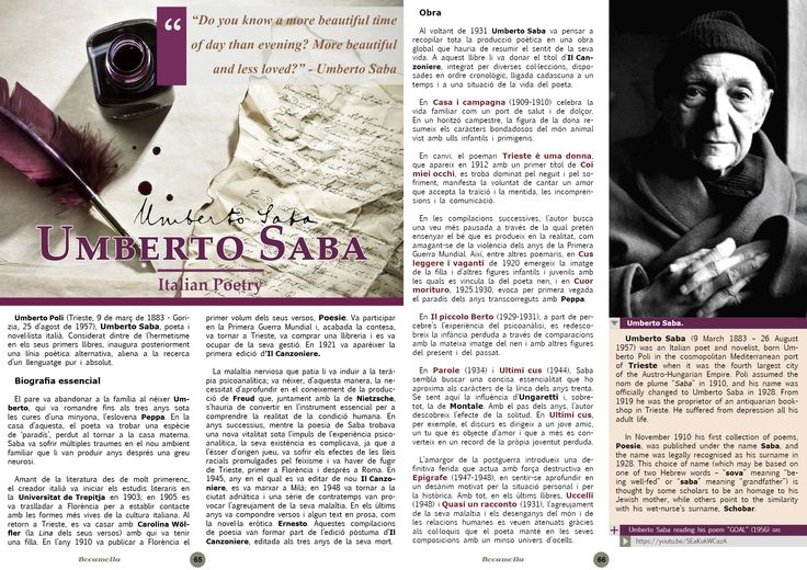 Umberto Saba, Italian Poetry. Page 1/5. Bocamolla Issue #5.