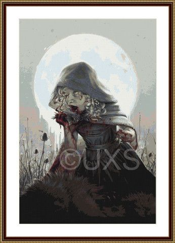 Color of the Wolf horror red riding hood modern counted cross stitch k – Unconventional X Stitch