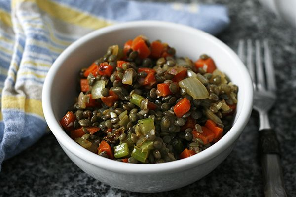 Warm French Lentil Salad combines carrots, onions and celery with a tangy, pleasant shallot vinaigrette. It's a delightful dish to enjoy on dark, cold winter days.